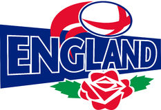 Bal Engeland van het rugby nam het Engels toe Stock Foto
