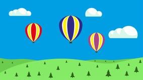 Bal?es de ar quente no c?u Balões que flutuam no céu ilustração royalty free