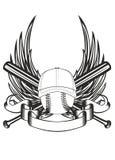 Bal in honkbal GLB en vleugels royalty-vrije illustratie