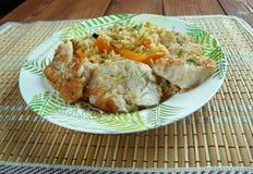 Balık plov. Fish pilaf.Azerbaijan cuisine Stock Photos
