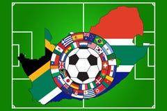 Bal met vlaggen van alle bepalende woorden van WC 2010 stock fotografie