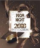 BAL noc 2018 z kapeluszem, faborkiem, złotą ramą i confetti, royalty ilustracja