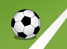 Bal op een voetbalgebied royalty-vrije illustratie