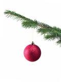 Bal op Kerstboom Stock Afbeelding