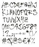 Bal Pen Handwriting Freehand Vector Font met Hoofdletters, Aantallen & Tekens stock illustratie