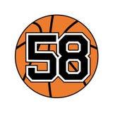Bal van basketbal nummer 58 stock illustratie