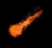 Bal van brand die op zwarte wordt geïsoleerdr stock fotografie
