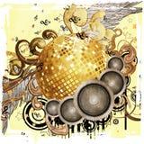 Bal van de Grunge de gouden disco met vleugels Stock Afbeelding