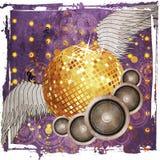 Bal van de Grunge de gouden disco met vleugels Royalty-vrije Stock Foto's