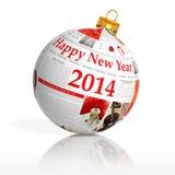 Bal van het kranten de gelukkige nieuwe jaar 2014 Royalty-vrije Stock Foto's