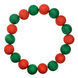 Bal van kader de rode en groene die Kerstmis op witte achtergrond wordt geïsoleerd royalty-vrije stock foto