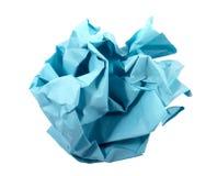 Bal van verfrommeld blauw document. Royalty-vrije Stock Afbeeldingen