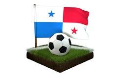 Bal voor het spelen van voetbal en nationale vlag van Panama op gebied met gras Royalty-vrije Stock Foto's