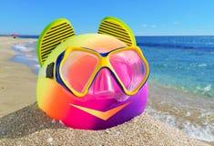 Bal, wipschakelaar en het duiken masker Stock Fotografie