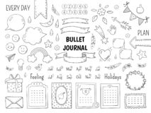 Bala da garatuja do caderno Quadro tirado mão do diário, beiras da lista linear do jornal e elementos Planejador da garatuja do ilustração do vetor