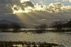 Bala Lake in North Wales. Sunbeams break through the clouds in winter at Bala Lake in North Wales Stock Photography