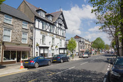 Bala North Wales. The high street and White Lion Royal Hotel in Bala a rural market town in the county of Gwynedd Royalty Free Stock Photos