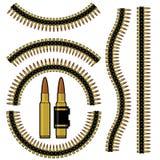 Bala y correa de cartucho de metralleta Ilustración del Vector