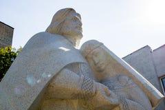 Balabanovo,俄罗斯- 2018年8月:对Murom圣皮特圣徒・彼得和Fevronia的纪念碑  免版税库存照片