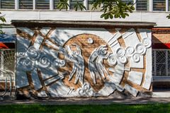 Balabanovo, Russia - August 2018: Bas-relief on the facade of the sports school building stock photos