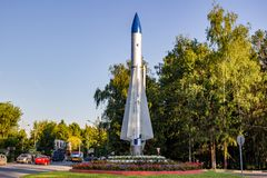 Balabanovo, Russie - août 2018 : Un fusée-monument près du centre de formation des forces de missile image libre de droits
