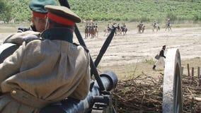 Balaclava battle reconstruction stock video