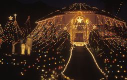 Balad House Decorated with Christmas Lights at Night, Pasadena, California Stock Photos