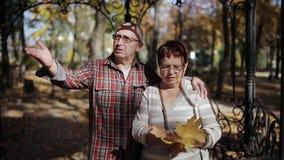 Balade d'homme supérieur et de femme par le parc d'automne avec les feuilles tombées dans des mains clips vidéos
