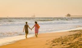 Balade de plage - Huntington Beach - la Californie Photo libre de droits