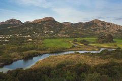 Balagna country side valley. Inland Corse landscape, country side of Corsica Stock Photos