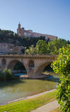 Balaguer saint Christ church over Segre river bridge Royalty Free Stock Photo