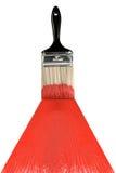 Balai avec la peinture rouge photographie stock