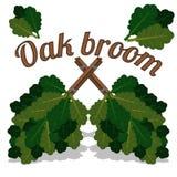 Balai croisé par deux des branches de chêne pour le sauna photographie stock libre de droits