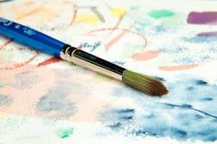Balai d'aquarelle d'artiste Photos libres de droits