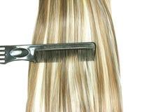 Balai de cheveu avec le cheveu de point culminant dans lui Image stock