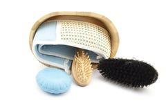 Balai de massage avec du savon Photos stock