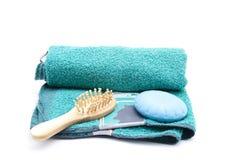 Balai de massage avec du savon Image stock