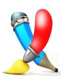Balai et crayon. Dessin animé 3D. Images libres de droits