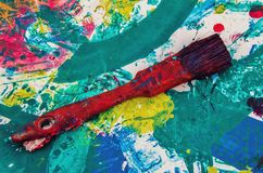 Balai et peinture Photos stock