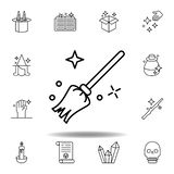 Balai magique, ic?ne diverse d'ensemble éléments de ligne magique icône d'illustration des signes, symboles peuvent être employés illustration de vecteur