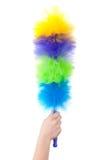 Balai multicolore pour nettoyer la poussière photographie stock