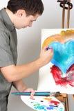 Balais de fixation d'homme et palette, peinture Photos stock