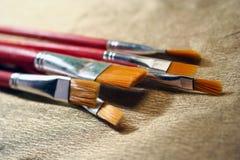 Balais de peinture à l'huile Photos stock