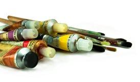 Balais et peinture Images stock