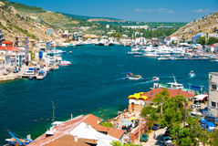 Balaklava bay. Panorama of Balaklava bay with lot of yachts Royalty Free Stock Photos