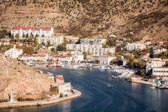 Balaklava Bay, Balaklava city. Sevastopol, Republic of Crimea royalty free stock image