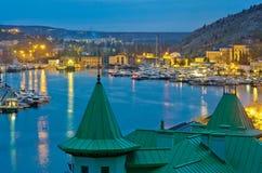 Balaklava Bay. (district of Sevastopol) in evening. Black sea, Crimea stock image