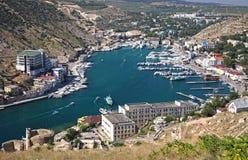 Balaklava bay near Sevastopol, Crimea, Ukraine. Aerial view of Balaklava bay near Sevastopol, Crimea, Ukraine royalty free stock images