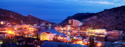 Balaklava bay in night time Stock Images