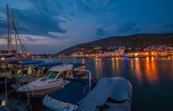 Balaklava bay in night time stock photography